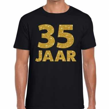35e verjaardag cadeau t shirt zwart goud heren