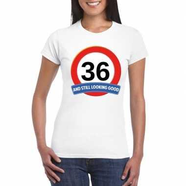 36 jaar verkeersbord t shirt wit dames