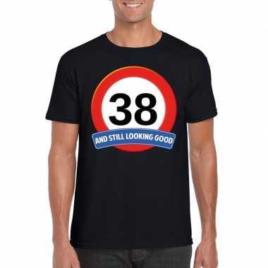 38 jaar verkeersbord t shirt zwart heren