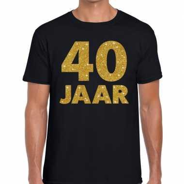 40 jaar gouden letters fun t shirt zwart heren