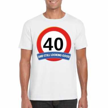 40 jaar verkeersbord t-shirt wit volwassenen