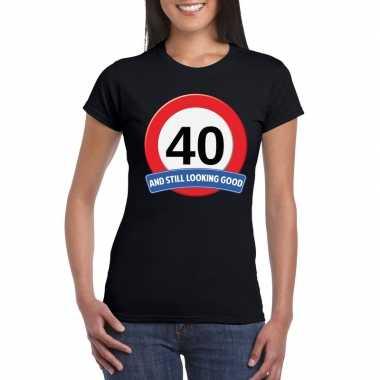 40 jaar verkeersbord t shirt zwart dames
