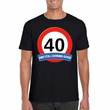 40 jaar verkeersbord t-shirt zwart volwassenen