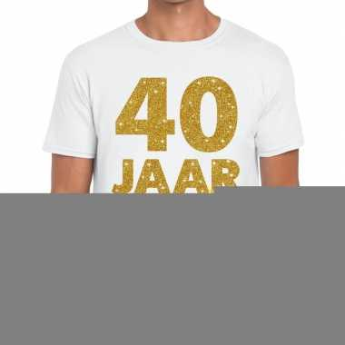 40e verjaardag cadeau t shirt wit goud heren