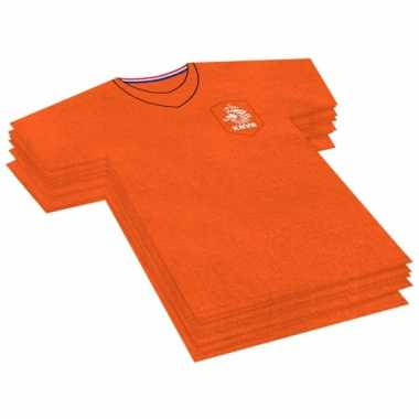 40x oranje voetbalshirt feest servetten 16 bij 15