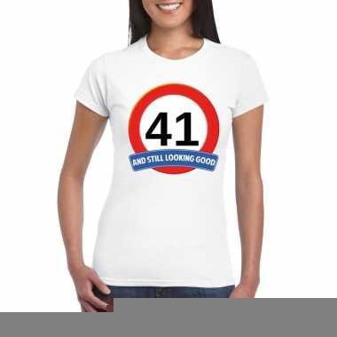 41 jaar verkeersbord t shirt wit dames