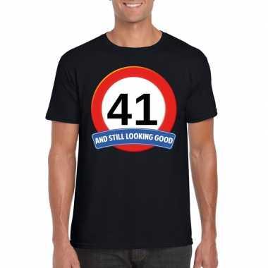 41 jaar verkeersbord t shirt zwart heren