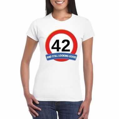 42 jaar verkeersbord t shirt wit dames