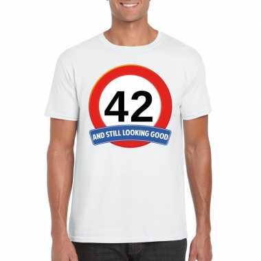 42 jaar verkeersbord t shirt wit heren