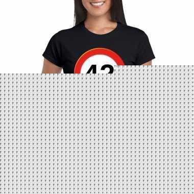 42 jaar verkeersbord t shirt zwart dames