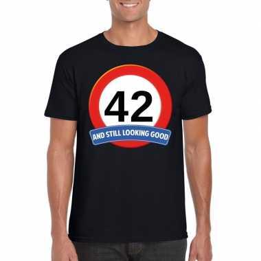 42 jaar verkeersbord t shirt zwart heren