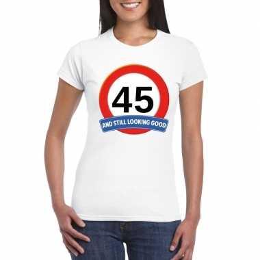 45 jaar verkeersbord t shirt wit dames