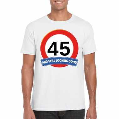 45 jaar verkeersbord t-shirt wit volwassenen