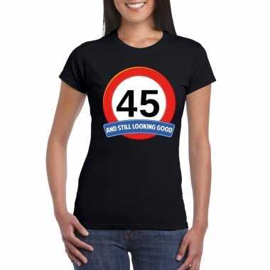45 jaar verkeersbord t-shirt zwart dames