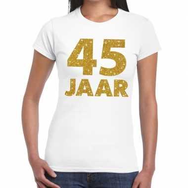 45e verjaardag cadeau t shirt wit goud dames