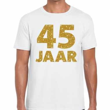 45e verjaardag cadeau t shirt wit goud heren