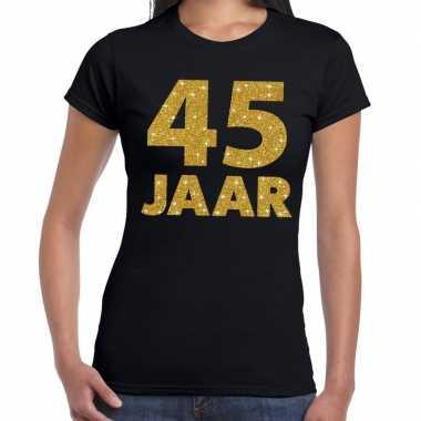 45e verjaardag cadeau t shirt zwart goud dames