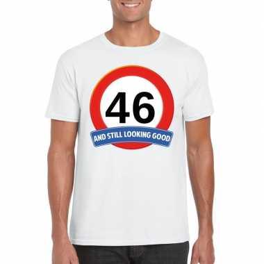 46 jaar verkeersbord t shirt wit heren
