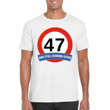 47 jaar verkeersbord t shirt wit heren