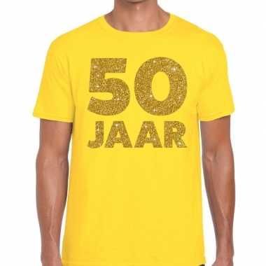 50 jaar fun jubileum t shirt geel goud heren