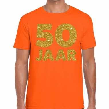 50 jaar fun jubileum t shirt oranje goud heren