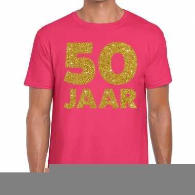 50 jaar fun jubileum t shirt roze goud heren