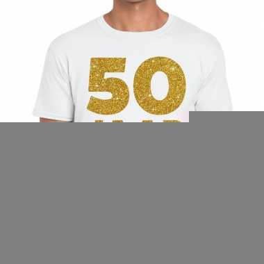 50 jaar jubileum fun t shirt wit heren