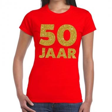 50 jaar verjaardag fun t shirt rood dames