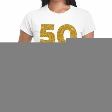 50 jaar verjaardag fun t shirt wit dames