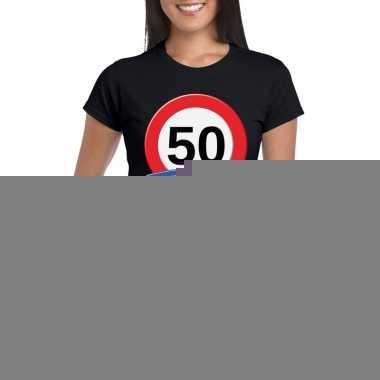 50 jaar verkeersbord t shirt zwart dames