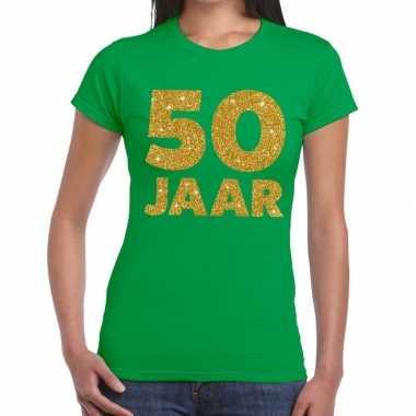 50e verjaardag cadeau t shirt groen goud dames