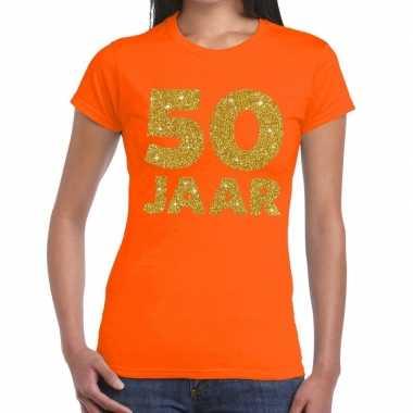50e verjaardag cadeau t shirt oranje goud dames