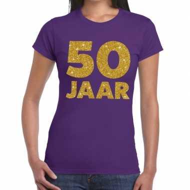 50e verjaardag cadeau t shirt paars goud dames