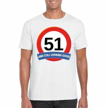 51 jaar verkeersbord t shirt wit heren