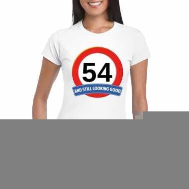 54 jaar verkeersbord t shirt wit dames