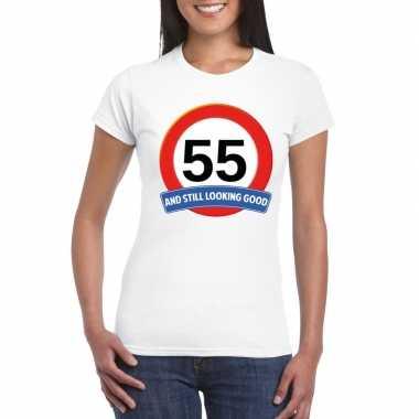 55 jaar verkeersbord t-shirt wit dames