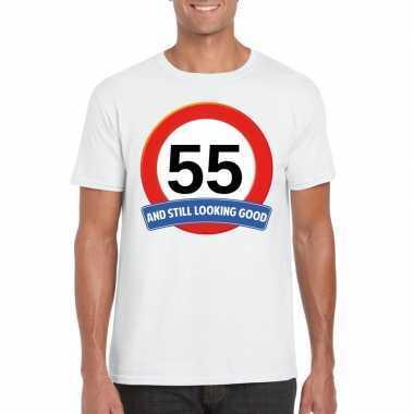 55 jaar verkeersbord t-shirt wit volwassenen