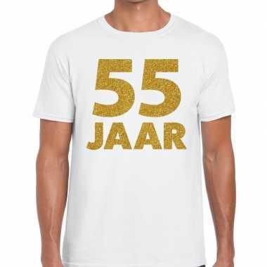 55e verjaardag cadeau t-shirt wit goud heren