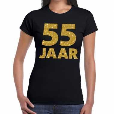 55e verjaardag cadeau t shirt zwart goud dames