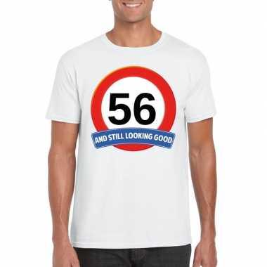 56 jaar verkeersbord t shirt wit heren