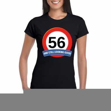 56 jaar verkeersbord t shirt zwart dames