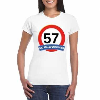 57 jaar verkeersbord t shirt wit dames