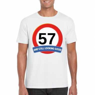 57 jaar verkeersbord t shirt wit heren