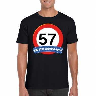 57 jaar verkeersbord t shirt zwart heren