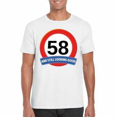 58 jaar verkeersbord t shirt wit heren
