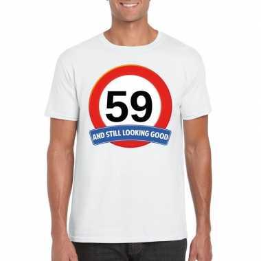 59 jaar verkeersbord t shirt wit heren