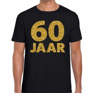 60 jaar gouden letters fun t shirt zwart heren
