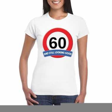 60 jaar verkeersbord t shirt wit dames