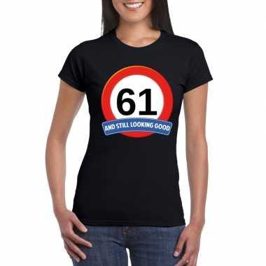 61 jaar verkeersbord t shirt zwart dames