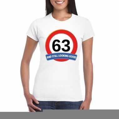 63 jaar verkeersbord t shirt wit dames